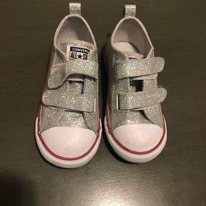 Silver Glitter Kids Converse